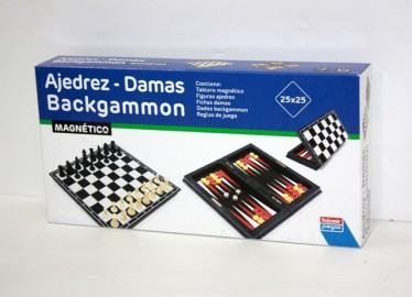 Juegos Falomir Ajedrez y Damas Viaje 23cm