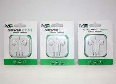 Auriculares Iphone Stereo Blanco con Volumen x 3
