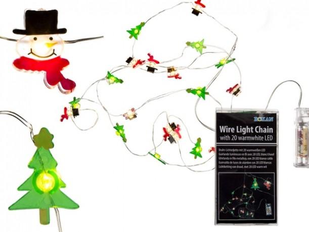 Guirnalda Navidad Arbol y Muñeco 20 Leds x 4