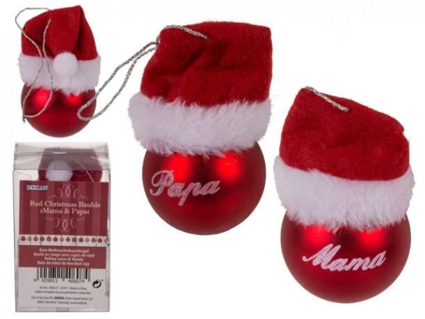 Bola Cristal Navidad Papa y Mama x 6