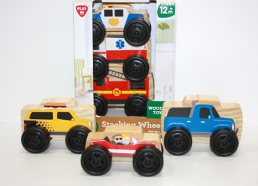 Set 3 Coches Madera Apilables x 2