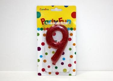 Vela Número 9 con Purpurina 14cm x 4