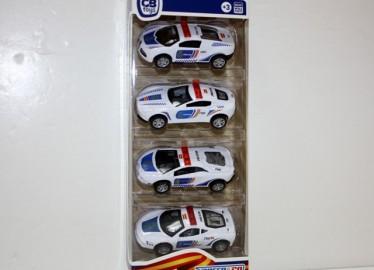 Set 4 Coches Metal Policia