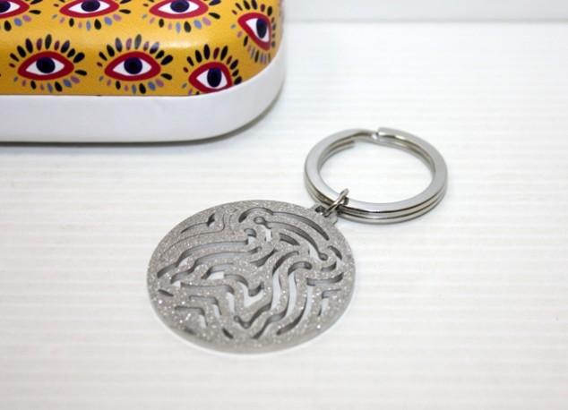 Llavero Silueta Osito Plata en Caja de Metal