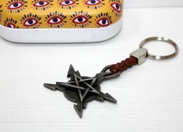 Llavero Piel Trenzada Estrella 5 Puntas en Caja de Metal