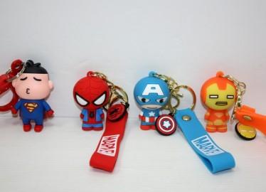 Llavero Goma Superheroes x 12