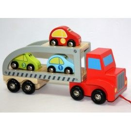 Camión Remolque Coches Madera 30cm